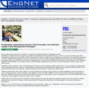 PES Provides Cost-Effective Supply Chain Management Strategies—ENGINEERING NETWORK Image