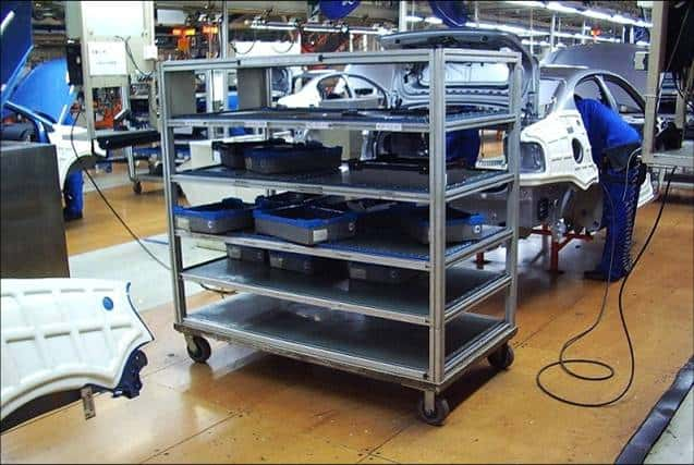 Kit Cart on Skillet Conveyor