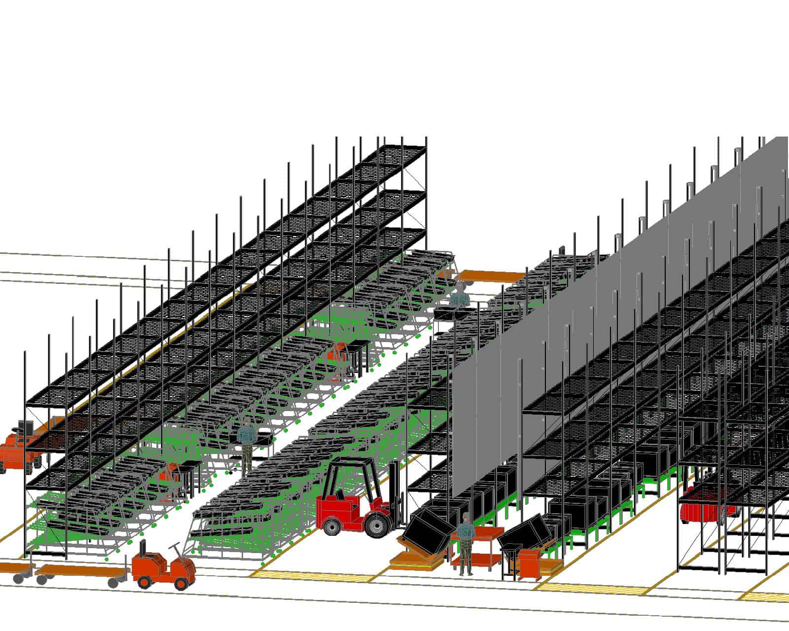 Kit Cell with Overhead Storage 3D Layout