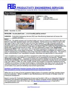 Press Release Lean Manufacturing Assessment Image
