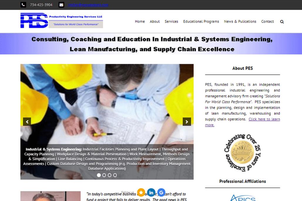 PES Website Home Page Screenshot