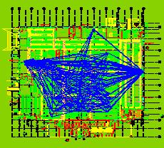 Spaghetti Diagram Overlaid on CAD Plant Layout Image