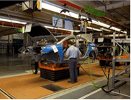 Automotive Assembly Line Skillet Conveyor Picture; Lean Workstation Layout, Lean Workstation Design, Industrial Workstation Design, Ergonomic Assembly Workstation Design, Workstation Layout Design, Workplace Layout Design